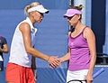 Elena Vesnina and Vera Zvonareva at the 2010 US Open 01.jpg