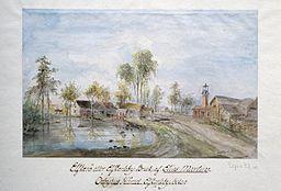 Älvkarleö brug i året 1798.   Akvarellerad penntegning af Elias Martin.