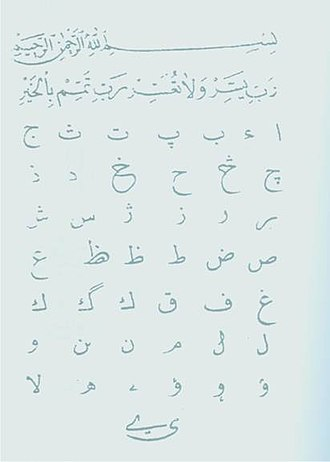 Albanian Vilayet - Albanian Abjad script alphabet called Elifbaja, from the Ottoman period.