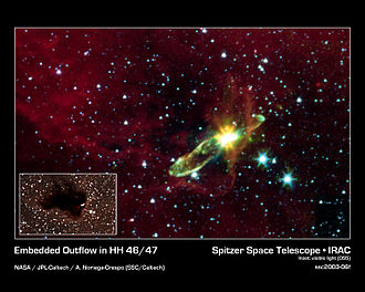 Accretion (astrophysics) - Infrared image of the molecular outflow from an otherwise hidden newborn star HH 46/47