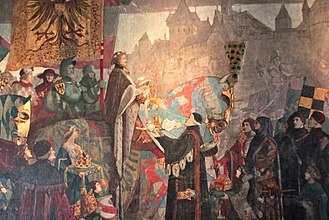 Strasbourg - Sigismund, Holy Roman Emperor visiting Strasbourg in 1414, detail of a painting by Léo Schnug