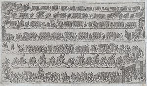 Marcantonio Colonna - Entry of Marcantonio Colonna to Rome, 1571. Etching by Francesco Tramezzino.