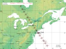 Tracciato al suolo delle zone che saranno interessate il 20 marzo 2014 dall'occultazione di Regolo da parte di 163 Erigone.