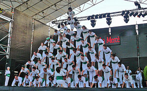 "Human pyramid - Human pyramid built by a ""Falcons"" team in Catalonia"