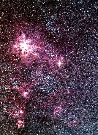 SN 1987A - Supernova 1987A is the bright star at the centre of the image, near the Tarantula nebula.