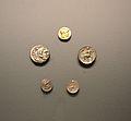 Estàter, tetradracmes i dracmes d'Alexandre el Gran, museu de Prehistòria de València.JPG