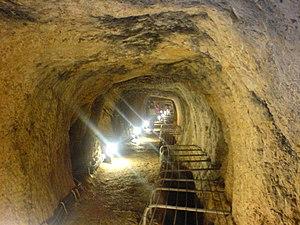 History of Samos - Inside the Eupalinian aqueduct.