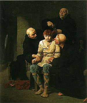 Childeric III - The Last of the Merovingians, a painting by Evariste-Vital Luminais depicting the cutting of Childeric's hair