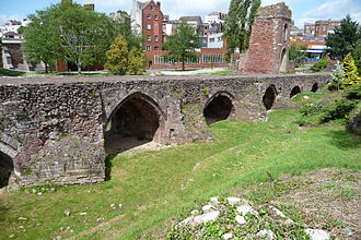 Exeter - Remains of the medieval Exe Bridge, built around 1200