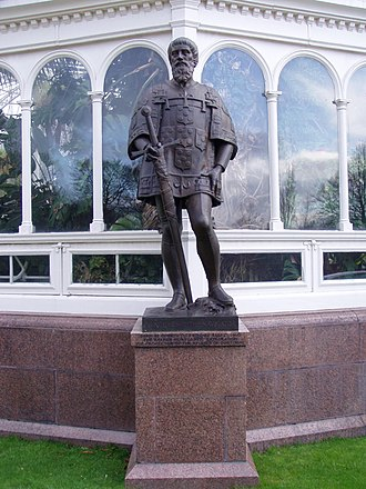 Prince Henry the Navigator - Henry the Navigator bronze by Léon-Joseph Chavalliaud (1899), outside the Palm House at Sefton Park, Liverpool (in appearance similar to the sculpture of the beginning of the 16th century, in the Jerónimos Monastery, Lisbon, possibly close to the true likeness of Prince Henry)