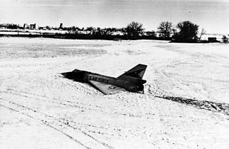 Belly landing - The Cornfield Bomber, prior to recovery from its landing site (1970)