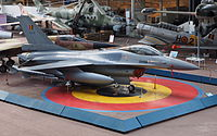 The F-16 in the Royal Museum of the Armed Forces and Military History in Brussels