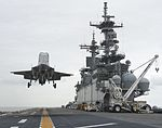 F-35B Lightning II completes a Vertical Landing during DT-II aboard USS Wasp (LHD 1) in August 2013 130819-D-AW822-405.jpg