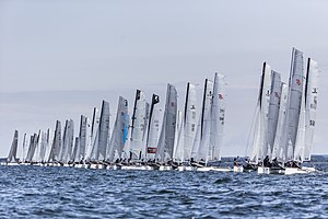 Formula 18 - Starting line during 2015 F18 Worlds in Kiel