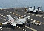 FA-18C of VMFA-323 and EA-18G of VAQ-142 aboard USS Nimitz (CVN-68) on 21 August 2017 (170821-N-UD618-037).JPG