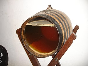Flor - Sherry barrel with transparent front so visitors can see the natural development of flor.