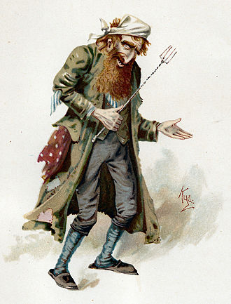 Stereotypes of Jews - Watercolor illustration by Joseph Clayton Clarke of Fagin, a stereotypical red-haired Jewish criminal from Charles Dickens's novel Oliver Twist