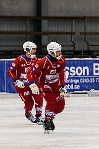 Falu BS BK vs Kalix-Ishockey 2013-01-27 02 Magnus Johansson, Peter Stock.jpg