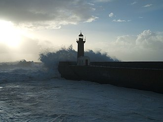 Foz do Douro - The Felgueiras Lighthouse is situated at the edge of the Douro's river mouth and the Atlantic coastline of Foz do Douro