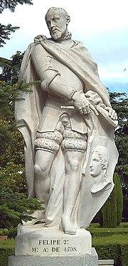 Statue of Philip II at the Sabatini Gardens in Madrid (F. Castro, 1753).