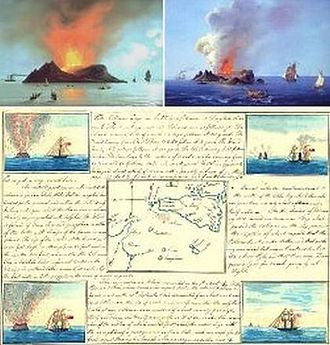 Graham Island (Mediterranean Sea) - A page out of the field journal of French geologist Constant Prévost. Illustrations by a French artist.