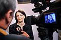 Finlands statsminister Mari Kiviniemi intervjuas av finsk tv. Nordiska radets session 2010.jpg