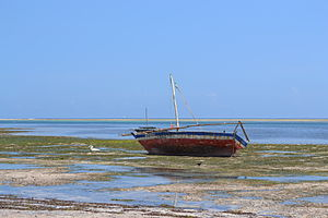 Fishing boats as viewed from Nyali Beach next to the Reef Hotel during low tide and still conditions in Mombasa, Kenya.jpg