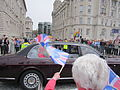 Flag-wavers greet the Queen at Canada Boulevard, Liverpool.jpg