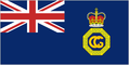 Royal blue flag with Coastguard emblem in right half and Union Flag as top-left quarter.
