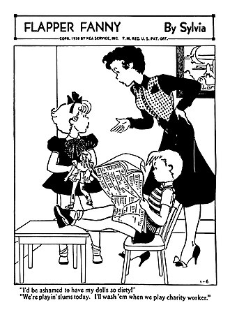 Flapper Fanny Says - Flapper Fanny by Sylvia, showing Fanny, little sister Betty, and Betty's friend Chuck.