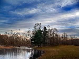 Brodhead Creek - Brodhead Creek Park in Stroud Township near dusk.