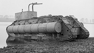 Floating British Mark IX tank in Hendon Reservoir on 11 November 1918.jpg