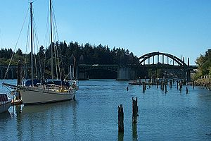 A sailboat on the Siuslaw River.