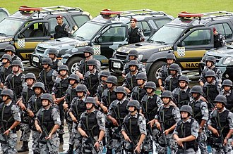 National Public Security Force - Soldiers and Nissan Xterra vehicles of the National Public Security Force.