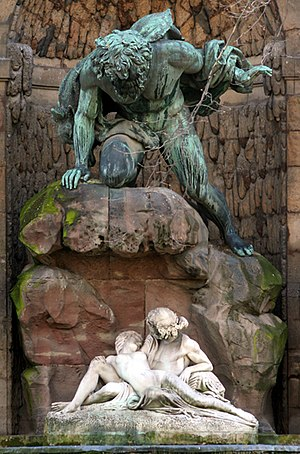 Auguste Ottin - Polyphemus Surprising Acis and Galatea, (1866), the Fontaine Médicis, Jardin du Luxembourg, Paris )