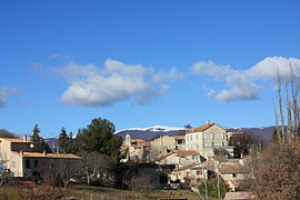 A general view of the village of Fontienne, with the Montagne de Lure in the background