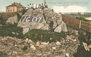 Bristol, Maine - Image: Fort Rock and Castle Wall Foundations, Pemaquid Beach, ME