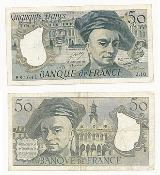 Maurice Quentin de La Tour - Maurice Quentin de La Tour on a banknote of 50 Francs 1978 of the French national bank Banque de France