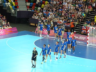 France women's national handball team -  France women's national handball team at the Copper Box before a game against Sweden at the 2012 Summer Olympics.