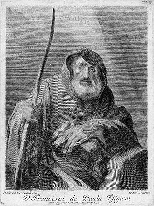 Francis of Paola - Saint Francis of Paola, in an engraving by Marco Pitteri, after Federiko Benković