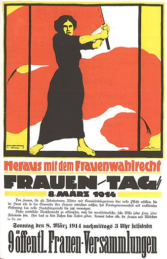 "Women's suffrage - Poster of the German Women's Movement, 1914: ""Heraus mit dem Frauenwahlrecht"" (= ""Get out with Women's Suffrage"")"