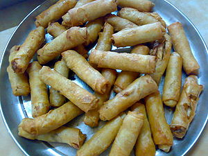 Filipino cuisine - Lumpia is a spring roll of Chinese origin commonly found in the Philippines.