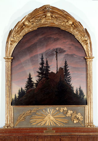 Cross in the Mountains - Cross in the Mountains (Tetschen Altar) (1808). 115 × 110.5 cm. Oil on canvas. Galerie Neue Meister, Dresden. Frame by Kühn after Friedrich's design.