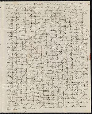 Crossed letter - Cross-hatched letter of 1837, Massachusetts, USA.
