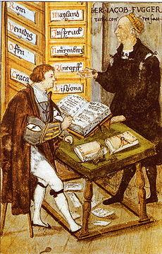 Jakob Fugger con su contador principal M. Schwarz. Como fondo aparecen dossiers con los nombres de las sucursales de la Casa Fugger: Roma, Venecia, Cracovia, Lisboa, Innsbruck, Núremberg, etc.