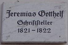 Göttinger Gedenktafel für Jeremias Gotthelf (Quelle: Wikimedia)