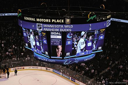 Scoreboard for a hockey game that ended in the seventh period. If a game is tied at the end of the third period, several leagues and tournaments have teams play additional periods until a goal is scored. GM Place Canucks 4 Overtimes.jpg