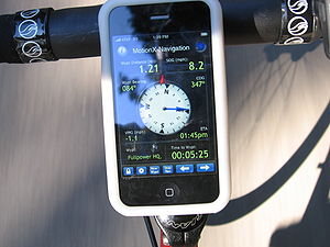 English: GPS navigation solution running on a ...