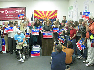 Gabrielle Giffords - Giffords during a press conference following her 2010 election victory