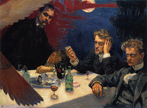 Mal du siècle - Akseli Gallen-Kallela,' painting Symposium made in 1894. From left: Akseli Gallen-Kallela, Oskar Merikanto, Robert Kajanus and Jean Sibelius.